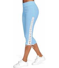 lace up skinny crop leggings