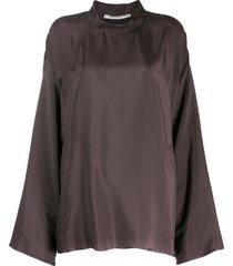 cherevichkiotvichki straight fit blouse - brown