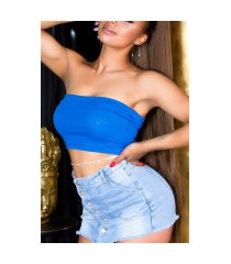 sexy basic cropped bandeau top blauw