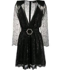 philipp plein logo-buckle mini dress - black