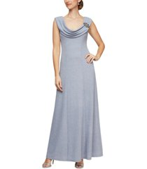 alex evenings embellished ruched-neck glitter gown