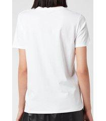balmain women's 3 button printed logo t-shirt - blanc/noir - l