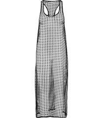 grid lace knälång klänning svart ganni