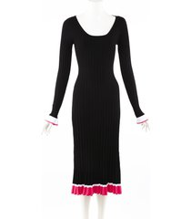prabal gurung black pink stretch knit scoop neck midi dress black/pink sz: s