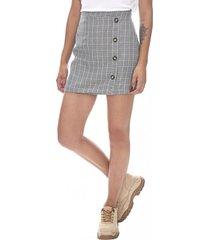 falda corta checks botones mujer gris corona