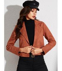 yoins cuello solapa camel manga larga bolsillo diseño botón diseño abrigo