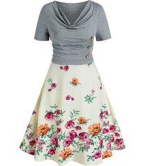 cowl neck mixed media floral print dress