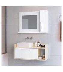gabinete suspenso com espelheira para banheiro 2 portas criando mobilia