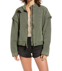 women's free people front zip jacket, size large - green