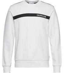 bold stripe logo sweatshirt sweat-shirt tröja vit calvin klein