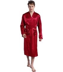 men v neck satin robe kimono long bathrobe lightweight sleepwear wedding