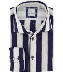 blue industry overhemd gestreept donkerblauw wit