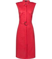 vestido dudalina regata chemise liso fivela curto linho feminino (preto / black, 48)