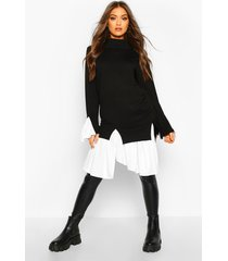 2 in 1 knitted shirt sweater, black