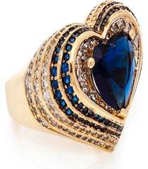 anel kumbayá coraçáo semijoia banho de ouro 18k cristal azul e cravaçáo de zircônias detalhe em ródio - tricae
