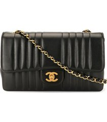 chanel pre-owned mademoiselle stitched shoulder bag - black