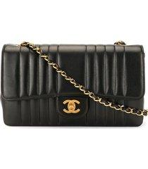chanel pre-owned mademoiselle stitched shoulder bag - black