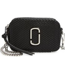 marc jacobs the softshot 17 leather crossbody bag - black