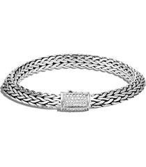 john hardy tiga chain diamond clasp 8mm bracelet, size small in silver/diamond at nordstrom