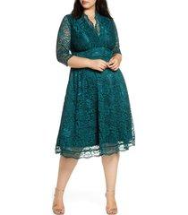 plus size women's kiyonna mademoiselle lace a-line dress, size 4x - green