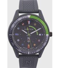 reloj negro-verde-multicolor nautica