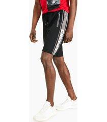 "dkny men's edge stretch logo-print 9-1/2"" track shorts"
