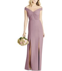 women's social bridesmaids off the shoulder chiffon a-line gown