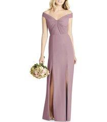 women's social bridesmaids off the shoulder chiffon a-line gown