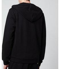 belstaff men's patch logo zip-through hoodie - black - m
