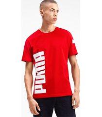 big logo graphic heren-t-shirt met korte mouwen, rood, maat xxl   puma