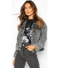 vintage wash boxy jean jacket, washed black