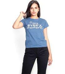 camiseta  manga corta,cuello redondo color-azul-talla-xs
