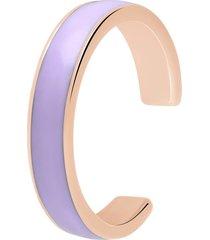 anello in acciaio rosato e smalto viola per donna