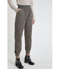 calça de sarja feminina jogger clochard cintura alta com bolsos verde militar