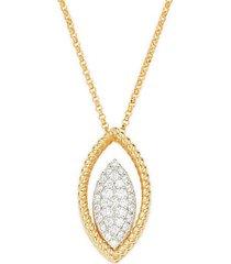 18k two-tone gold, ruby & diamond pendant necklace