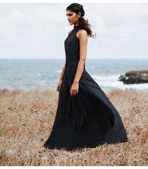 sukienka długa bez rękawów z kołnierzem