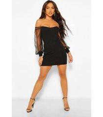 bodycon-mini-jurk met blote schouder en korsetdetail, zwart