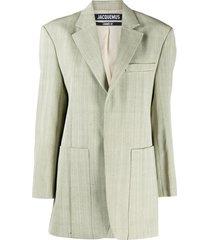 jacquemus boyfriend fit textured blazer - green