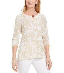 jm collection printed keyhole crinkle top, created for macy's