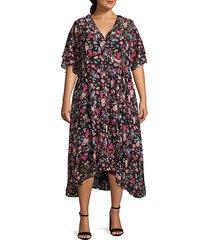 plus floral ruffled high-low faux wrap dress