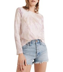 women's madewell northside long sleeve tie dye t-shirt, size large - pink