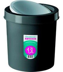 lixeira basculante de plástico 4,3 litros preta