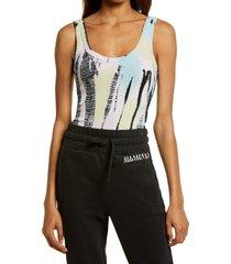 women's allsaints nino tank bodysuit, size 10 us - blue