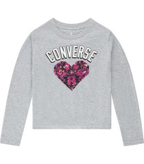 converse camiseta flip sequin heart print grey
