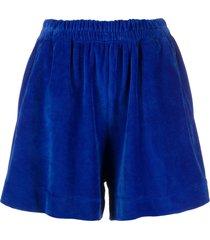 styland velvet stretch shorts - blue