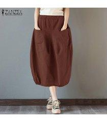 s-5xl zanzea elástico de las mujeres de cintura alta vestido de algodón básico más el tamaño de la falda de midi -rojo