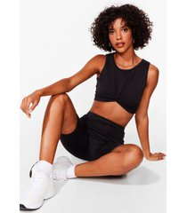 womens you've knot a nerve top and biker shorts set - black