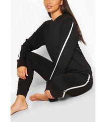 hoodie met zijstreep en joggingbroek lounge set, zwart