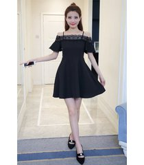 pf265 sexy youth dress, off shoulder, cute trim, size s-xl, black