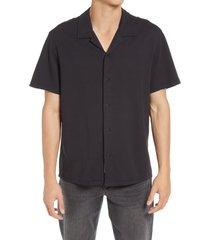 men's rag & bone avery knit short sleeve button-up camp shirt, size large - black